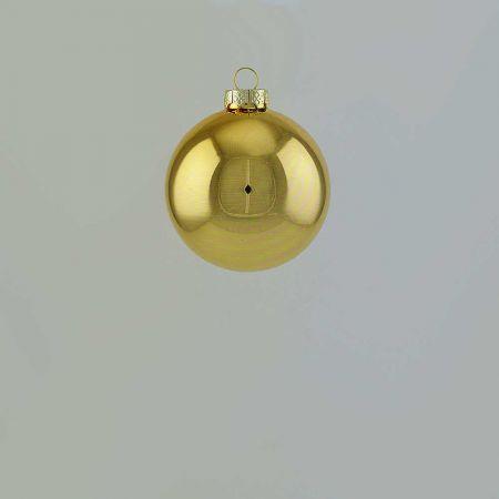 Χριστουγεννιάτικη μπάλα γυάλινη Χρυσή γυαλιστερή 6cm