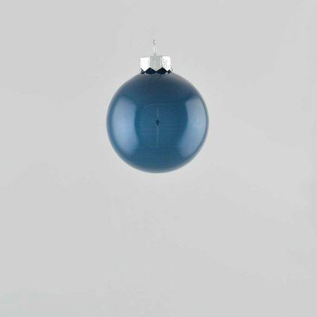 Χριστουγεννιάτικη μπάλα γυάλινη Μπλε γυαλιστερή 6cm
