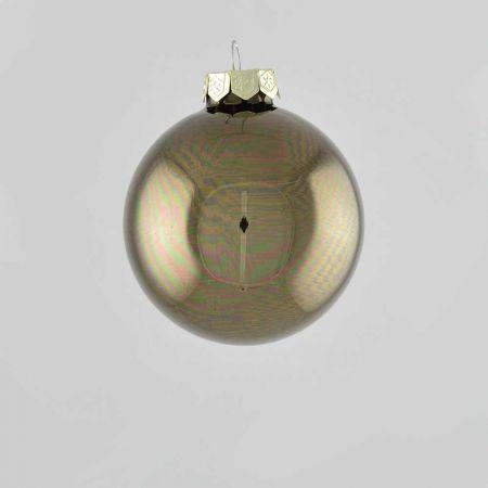Χριστουγεννιάτικη μπάλα γυάλινη Γκρι - Καφέ γυαλιστερή 8cm