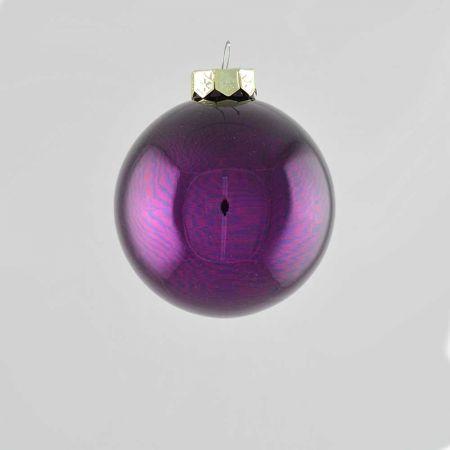 Χριστουγεννιάτικη μπάλα γυάλινη Μωβ σκούρο γυαλιστερό 8cm