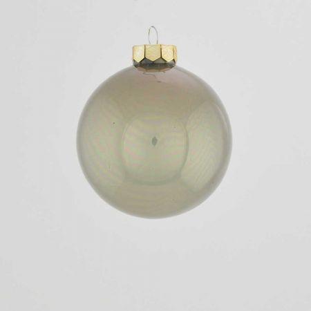 Χριστουγεννιάτικη μπάλα γυάλινη Γκρι γυαλιστερή 8cm