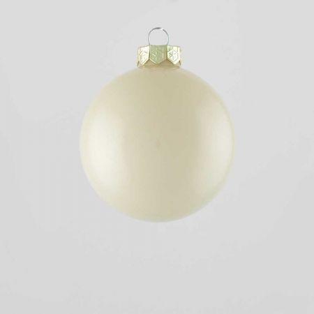 Χριστουγεννιάτικη μπάλα γυάλινη Κρεμ γυαλιστερή 8cm