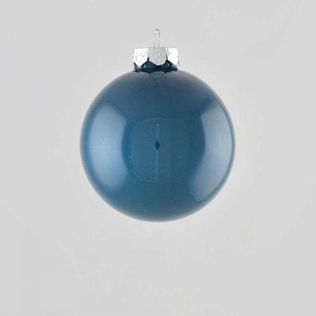Χριστουγεννιάτικη μπάλα γυάλινη Μπλε γυαλιστερή 8cm