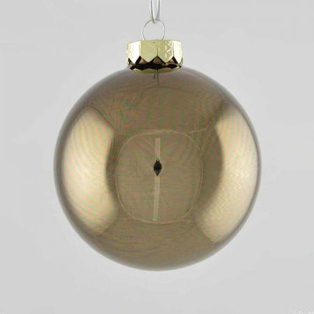 Χριστουγεννιάτικη μπάλα γυάλινη Γκρι - Καφέ γυαλιστερή 10cm