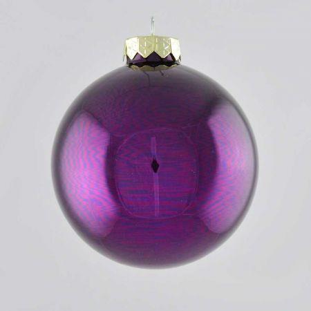 Χριστουγεννιάτικη μπάλα γυάλινη Μωβ σκούρο γυαλιστερό 10cm