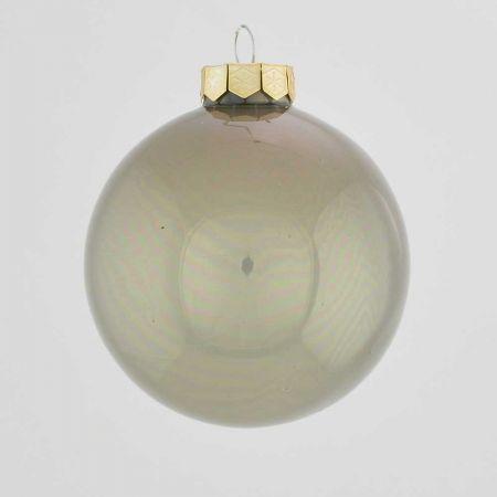 Χριστουγεννιάτικη μπάλα γυάλινη Γκρι γυαλιστερό 10cm