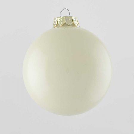 Χριστουγεννιάτικη μπάλα γυάλινη Κρεμ γυαλιστερή 10cm