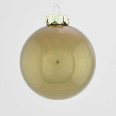 Χριστουγεννιάτικη μπάλα γυάλινη Λαδί γυαλιστερό 10cm