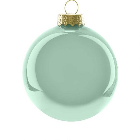 Χριστουγεννιάτικη μπάλα γυάλινη Πράσινο Μέντας γυαλιστερή 10cm