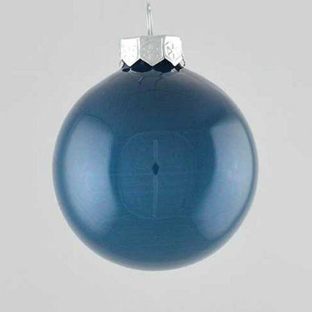 Χριστουγεννιάτικη μπάλα γυάλινη Μπλε γυαλιστερή 10cm