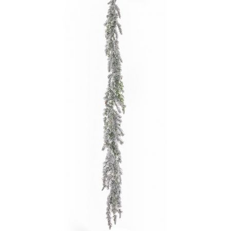 Χιονισμένη γιρλάντα πεύκου με κουκουνάρια 200cm