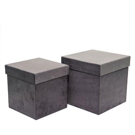 Σετ 2τχ βελούδινα κουτιά δώρου τετράγωνα Γκρι 23x23x23cm