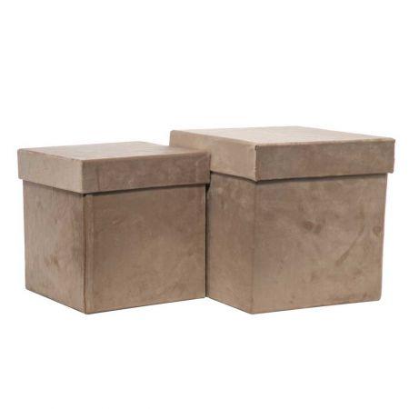 Σετ 2τχ βελούδινα κουτιά δώρου τετράγωνα Μπεζ 23x23x23,5cm