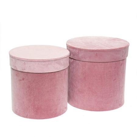 Σετ 2τχ βελούδινα κουτιά δώρου Κυλινδρικά Ροζ 26x26cm
