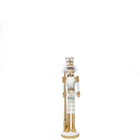 Κεραμικός Καρυοθραύστης, Μολυβένιος στρατιώτης Λευκός - Χρυσός 10,5x10,5x45cm