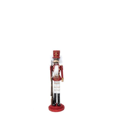 Κεραμικός Καρυοθραύστης, Μολυβένιος στρατιώτης Λευκός - Κόκκινος 8,5x8,5x32cm