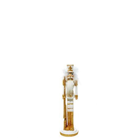 Κεραμικός Καρυοθραύστης, Μολυβένιος στρατιώτης Λευκός - Χρυσός 6x6x24cm