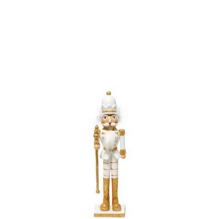 Κεραμικός Καρυοθραύστης, Μολυβένιος στρατιώτης Λευκός - Χρυσός 11x8,5x40cm