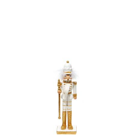 Κεραμικός Καρυοθραύστης, Μολυβένιος στρατιώτης Λευκός - Χρυσός 8x6,5x29cm