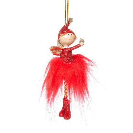 Κρεμαστό αγγελάκι Χριστουγέννων Κόκκινο 11cm