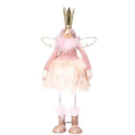 Χριστουγεννιάτικο μεταλλικό αγγελάκι με φωτιζόμενα φτερά Ροζ - Χρυσό 41cm