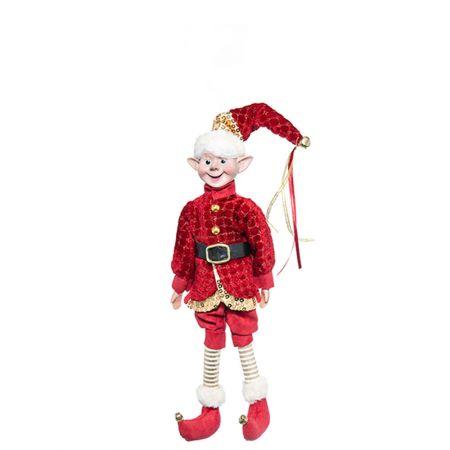 Χριστουγεννιάτικο ξωτικό - αρλεκίνος κατασκευασμένος από ύφασμα. 33cm