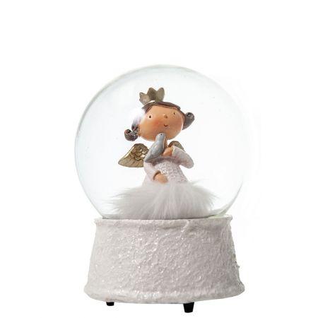 Χιονόμπαλα με αγγελάκι Λευκό - Χρυσό 12x16,5cm