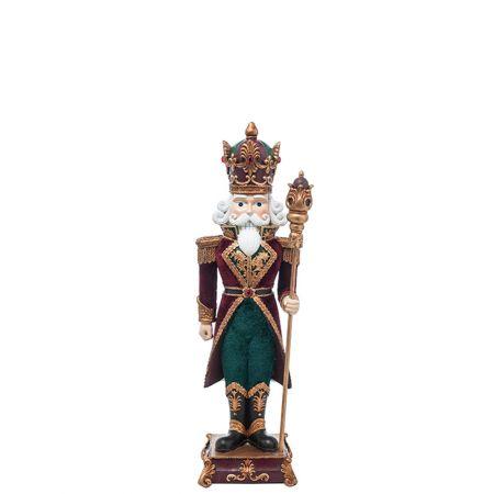 Καρυοθραύστης, Μολυβένιος στρατιώτης Fiberglass με βελούδινη φορεσιά Μπορντό - Πράσινο 15x13x46cm