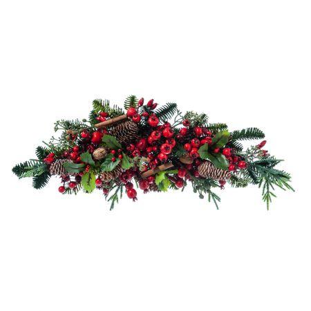Σύνθεση με κλαδιά από έλατο berries και ξύλο κανέλας 20x54