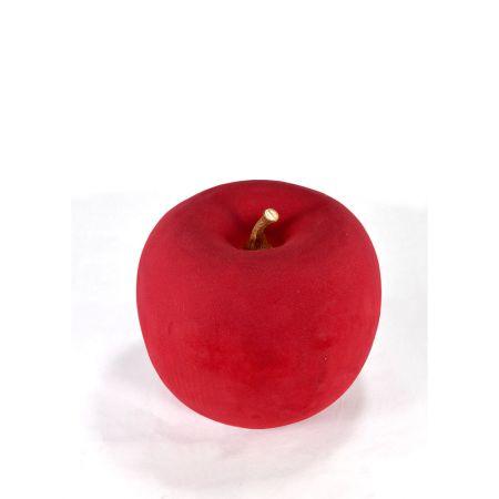 XL Διακοσμητικό Μήλο βελούδινο Μπορντό 26cm