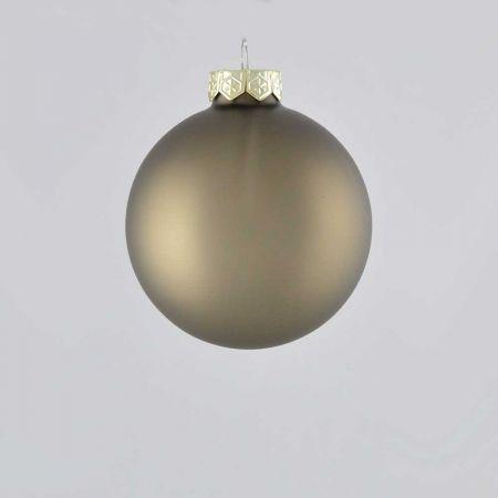 Χριστουγεννιάτικη μπάλα γυάλινη Γκρι - Καφέ ματ 8cm