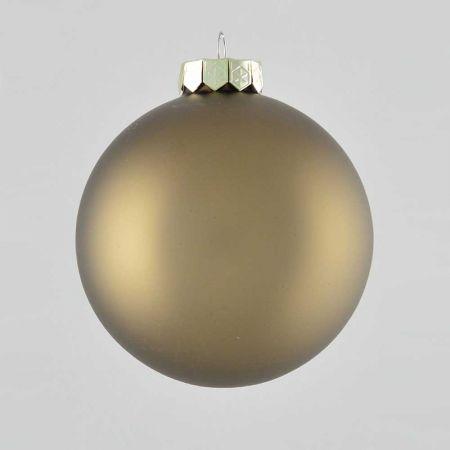 Χριστουγεννιάτικη μπάλα γυάλινη Γκρι - Καφέ ματ 10cm