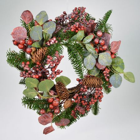 Χριστουγεννιάτικο στεφάνι στολισμένο με berries Σάπιο Μήλο 35x20cm