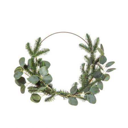 Χριστουγεννιάτικο στεφάνι με κλαδιά από έλατο και ευκάλυπτο Πράσινο 40cm