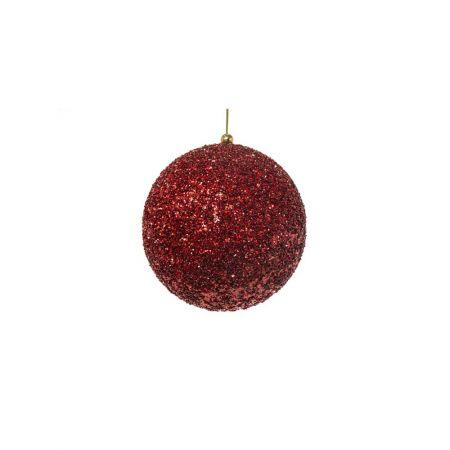 Διακοσμητική χριστουγεννιάτικη μπάλα Glitter Κόκκινη 8cm