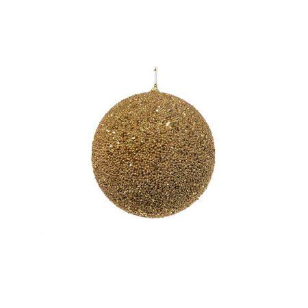 Διακοσμητική χριστουγεννιάτικη μπάλα Glitter Χρυσή 10cm