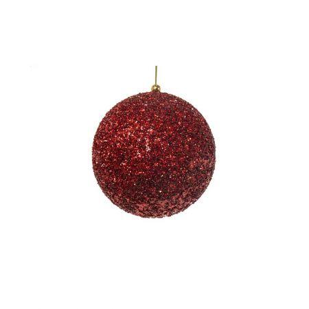 Διακοσμητική χριστουγεννιάτικη μπάλα Glitter Κόκκινη 10cm