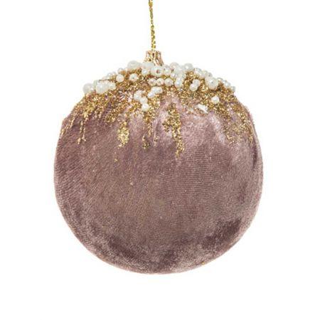 Xριστουγεννιάτικη μπάλα βελούδινη με glitter και χάντρες Σάπιο Μήλο - Χρυσό 10cm