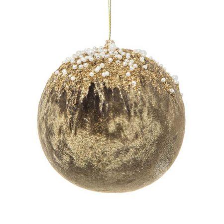 Xριστουγεννιάτικη μπάλα βελούδινη με glitter και χάντρες Κυπαρισσί - Χρυσό 10cm