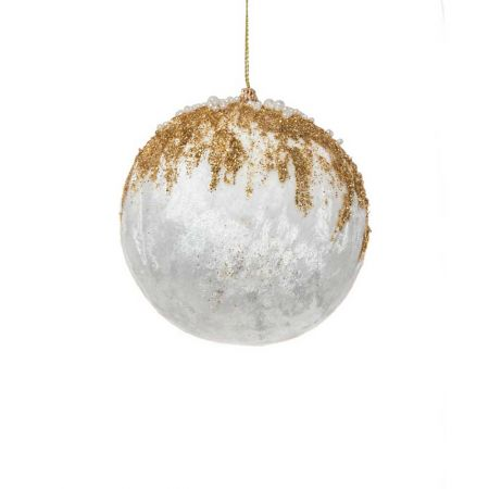 Xριστουγεννιάτικη μπάλα βελούδινη με glitter και χάντρες Λευκό - Χρυσό 8cm