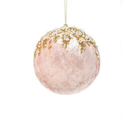 Xριστουγεννιάτικη μπάλα βελούδινη με glitter και χάντρες Ροζ - Χρυσό 8cm