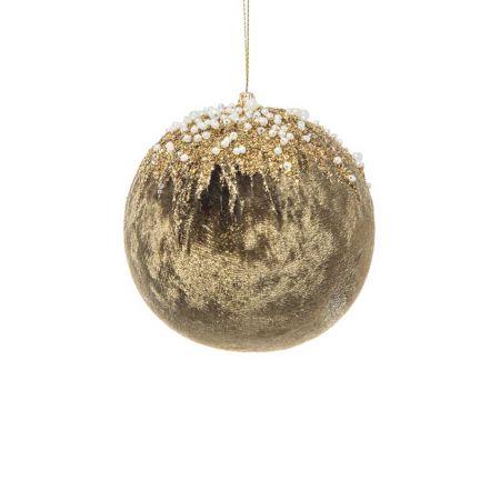 Xριστουγεννιάτικη μπάλα βελούδινη με glitter και χάντρες Κυπαρισσί - Χρυσό 8cm