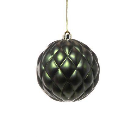 XL Χριστουγεννιάτικη μπάλα ανάγλυφη Πράσινη 15cm
