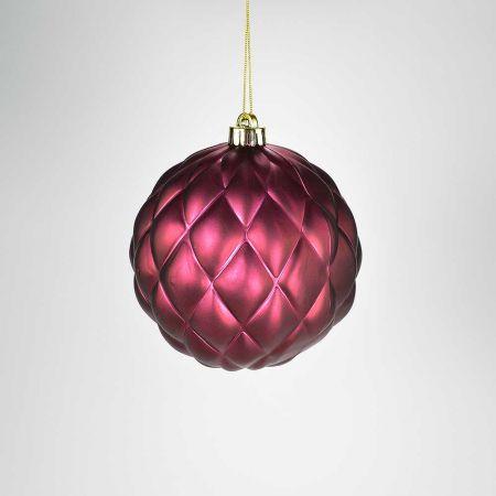 XL Χριστουγεννιάτικη μπάλα ανάγλυφη Μπορντό 15cm
