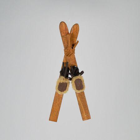 Σετ 2τχ στολίδι με πέδιλα σκι ξύλινα 10x6x23cm