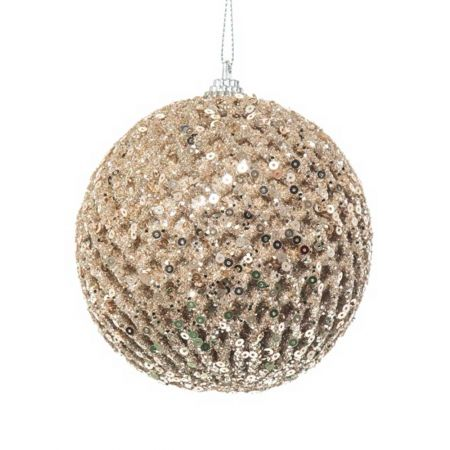 Χριστουγεννιάτικη μπάλα με glitter και παγιέτες Σαμπανί 10cm