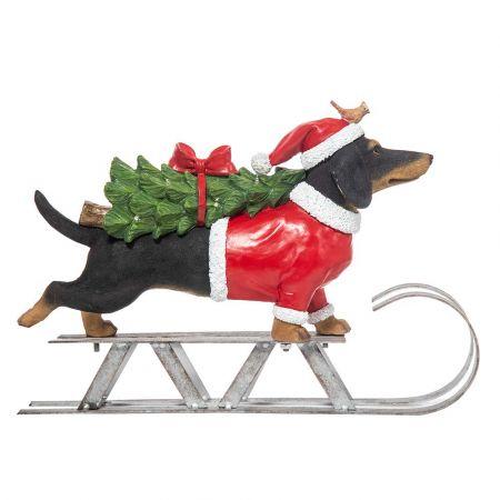 Χριστουγεννιάτικο σκυλάκι Polyresin σε έλκηθρο με φωτισμό LED 40,3x10x28,5cm