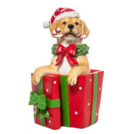 Χριστουγεννιάτικο σκυλάκι Polyresin σε δώρο με φωτισμό LED 23x19,5x38,5cm