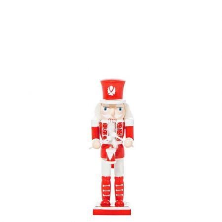 Διακοσμητικός καρυοθραύστης ξύλινος Κόκκινος - Λευκός 6x5x20cm