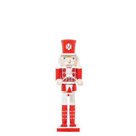Διακοσμητικός καρυοθραύστης ξύλινος Κόκκινος - Λευκός 8x6x30cm